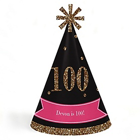Chic 100th Birthday - Pink, Black and Gold - Personalized Cone Happy Birthday Party Hats for Kids and Adults - Set of 8 (Standard Size)