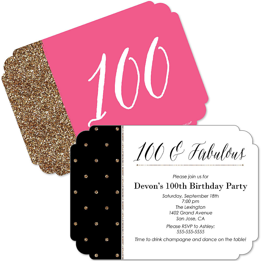 Chic 100th Birthday Pink Black And Gold Shaped Birthday Party