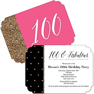 Chic 100th Birthday - Pink, Black and Gold - Shaped Birthday Party Invitations - Set of 12