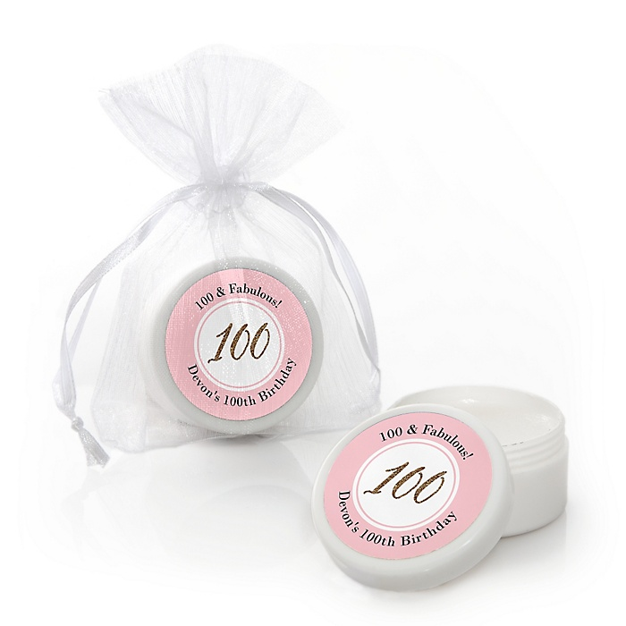 Chic 100th Birthday - Pink, Black and Gold - Personalized Birthday Party Lip Balm Favors - Set of 12
