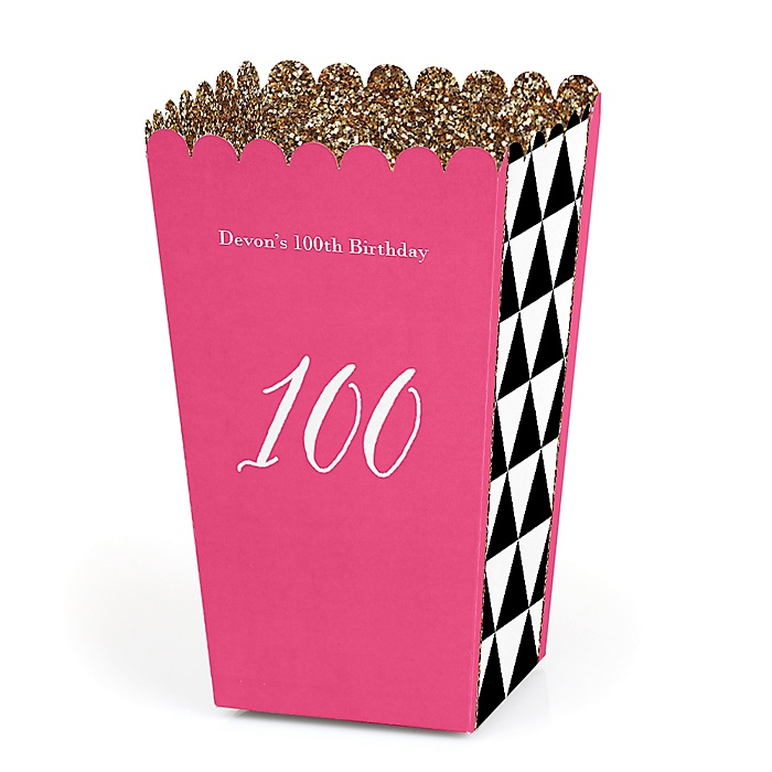 Chic 100th Birthday - Pink, Black and Gold - Personalized Birthday Party Popcorn Favor Treat Boxes - Set of 12
