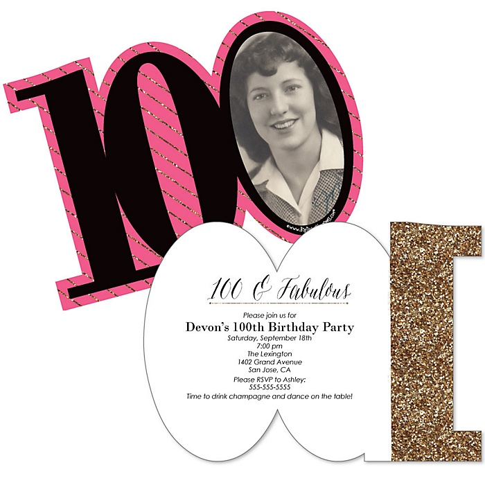 Chic 100th Birthday - Pink, Black and Gold - Personalized Shaped Photo Birthday Party Invitations - Set of 12