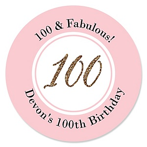 Chic 100th Birthday - Pink, Black and Gold - Personalized Birthday Party Sticker Labels - 24 ct