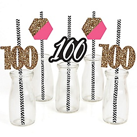 Chic 100th Birthday - Pink, Black and Gold - Paper Straw Decor - Birthday Party Striped Decorative Straws - Set of 24