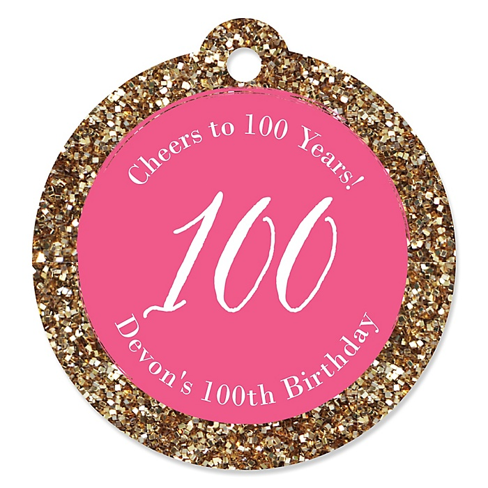 Chic 100th Birthday - Pink and Gold - Personalized Birthday Party Tags - 20 ct