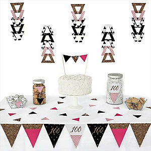 Chic 100th Birthday - Pink, Black and Gold -  Triangle Birthday Party Decoration Kit - 72 Piece