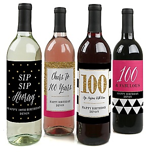 Chic 100th Birthday - Pink, Black and Gold - Decorations for Women and Men - Wine Bottle Label Birthday Party Gift - Set of 4