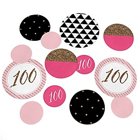 Chic 100th Birthday - Pink, Black and Gold - Birthday Party Giant Circle Confetti - 100th Birthday Party Decorations - Large Confetti 27 Count