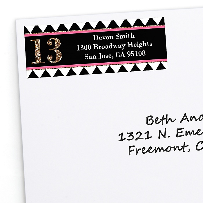 Chic 13th Birthday - Pink, Black and Gold - Personalized Birthday Party Return Address Labels - 30 ct