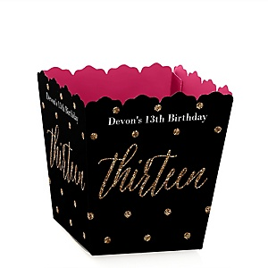 Chic 13th Birthday - Pink, Black and Gold - Party Mini Favor Boxes - Personalized Birthday Party Treat Candy Boxes - Set of 12
