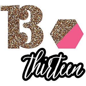 Chic 13th Birthday - Pink, Black and Gold - DIY Shaped Party Paper Cut-Outs - 24 ct