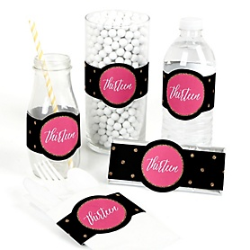 Chic 13th Birthday - Pink, Black and Gold - DIY Party Wrappers - 15 ct