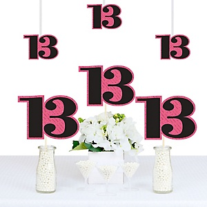 Chic 13th Birthday - Pink, Black and Gold - Decorations DIY Party Essentials - Set of 20