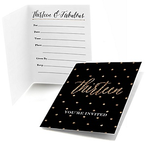 Chic 13th Birthday - Black and Gold - Birthday Party Fill In Invitations - 8 ct