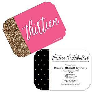 Chic 13th Birthday - Pink, Black and Gold - Birthday Party Invitations - Set of 12