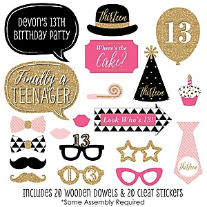 Chic 13th Birthday - Pink, Black and Gold - 20 Piece Birthday Party Photo Booth Props Kit