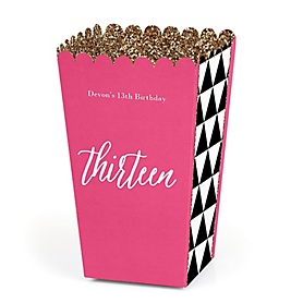 Chic 13th Birthday - Pink, Black and Gold - Personalized Birthday Party Popcorn Favor Treat Boxes - Set of 12