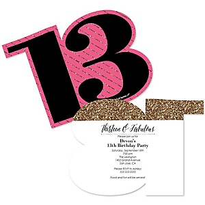 Chic 13th Birthday - Pink, Black and Gold - Shaped Birthday Party Invitations - Set of 12