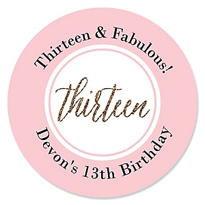 Chic 13th Birthday - Pink, Black and Gold - Personalized Birthday Party Sticker Labels - 24 ct