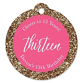 Chic 13th Birthday - Pink and Gold - Round Personalized Birthday Party Tags - 20 ct