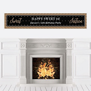 Chic 16th Birthday - Black and Gold - Personalized Birthday Party Banners