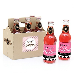 Chic 16th Birthday - Pink, Black and Gold - Custom Soda Bottle Labels and 6-Pack Carrier Birthday Gift - Set of 6