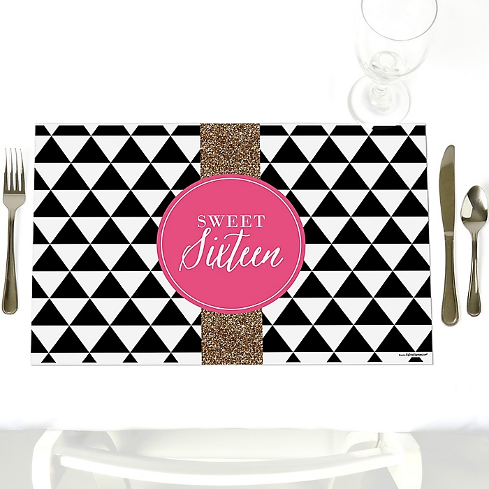 Chic 16th Birthday - Pink, Black and Gold - Party Table Decorations - Birthday Party Placemats - Set of 12