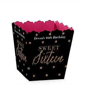 Chic 16th Birthday - Pink, Black and Gold - Party Mini Favor Boxes - Personalized Birthday Party Treat Candy Boxes - Set of 12