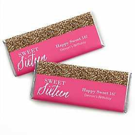 Chic 16th Birthday - Pink and Gold - Personalized Candy Bar Wrappers Birthday Party Favors - Set of 24