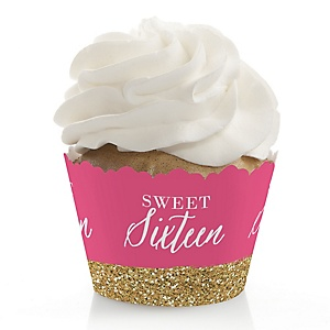 Chic 16th Birthday - Pink and Gold - Birthday Decorations - Party Cupcake Wrappers - Set of 12