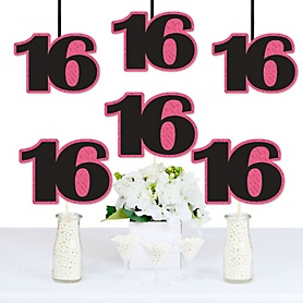 Chic 16th Birthday - Pink, Black and Gold - Decorations DIY Party Essentials - Set of 20