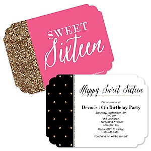 Chic 16th Birthday - Pink, Black and Gold - Birthday Party Invitations - Set of 12