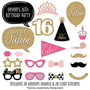 Chic 16th Birthday - Pink, Black and Gold - 20 Piece Photo Booth Props Kit