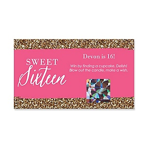 Chic 16th Birthday - Pink and Gold - Personalized Birthday Party Game Scratch Off Cards - 22 ct
