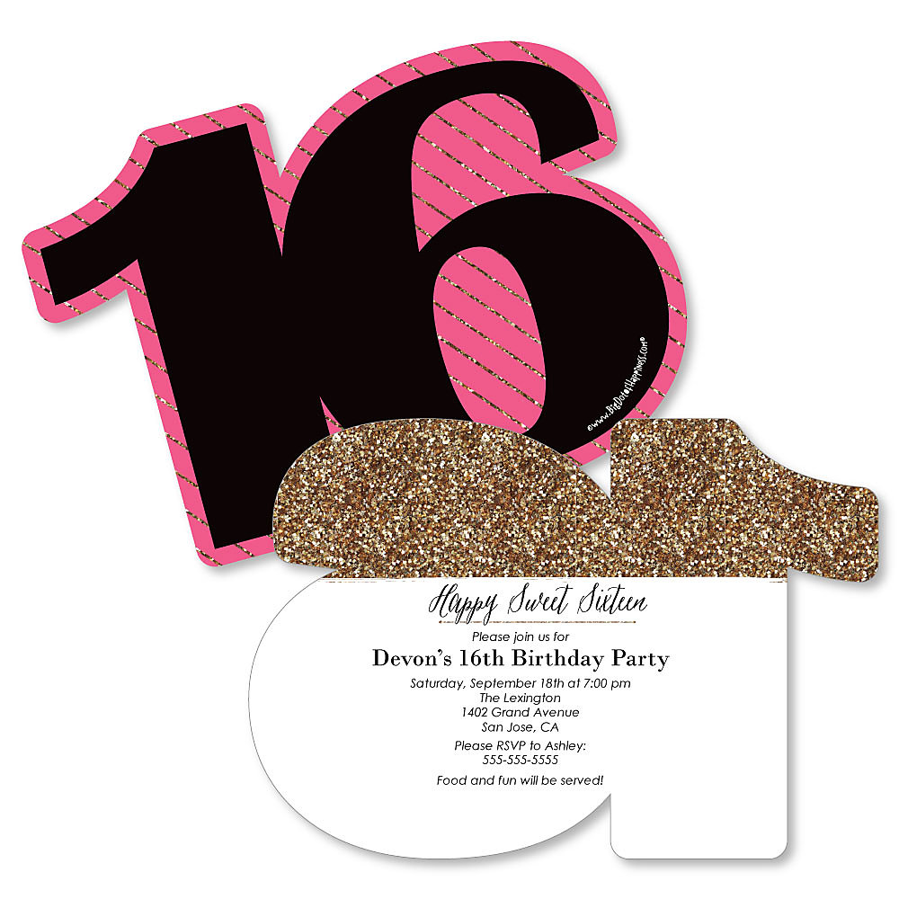Chic 16th Birthday - Pink, Black and Gold - Shaped Birthday Party ...