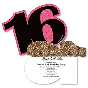 Chic 16th Birthday - Pink, Black and Gold - Shaped Birthday Party Invitations - Set of 12