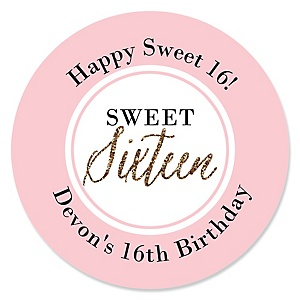 Chic 16th Birthday - Pink, Black and Gold - Personalized Birthday Party Sticker Labels - 24 ct