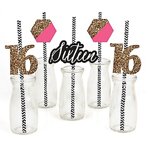 Chic 16th Birthday - Pink, Black and Gold - Paper Straw Decor - Birthday Party Striped Decorative Straws - Set of 24