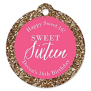 Chic 16th Birthday - Pink and Gold - Round Personalized Birthday Party Tags - 20 ct
