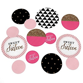 Chic 16th Birthday - Pink, Black and Gold - Birthday Party Giant Circle Confetti - 16th Birthday Party Decorations - Large Confetti 27 Count