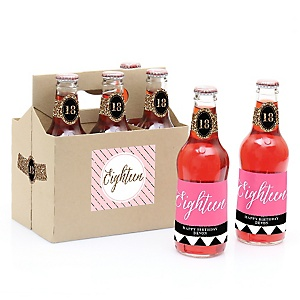 Chic 18th Birthday - Pink, Black and Gold - Decorations for Women and Men - 6 Beer Bottle Labels and 1 Carrier - Birthday Gift