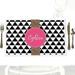 Chic 18th Birthday - Pink, Black and Gold - Party Table Decorations - Birthday Party Placemats - Set of 12
