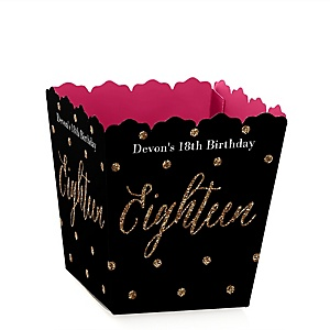 Chic 18th Birthday - Pink, Black and Gold - Party Mini Favor Boxes - Personalized Birthday Party Treat Candy Boxes - Set of 12