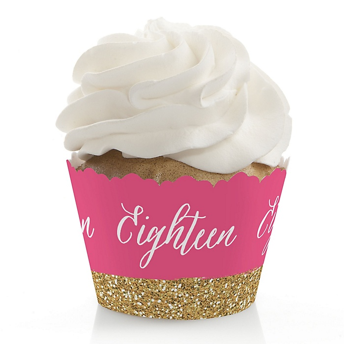 Chic 18th Birthday - Pink and Gold - Birthday Decorations - Party Cupcake Wrappers - Set of 12