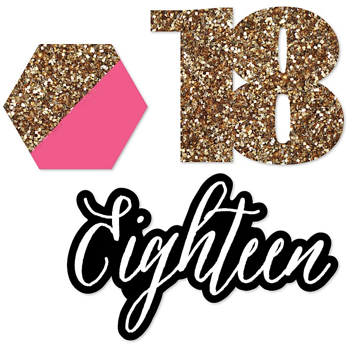 Chic 18th Birthday - Pink, Black and Gold - DIY Shaped Party Paper Cut-Outs - 24 ct