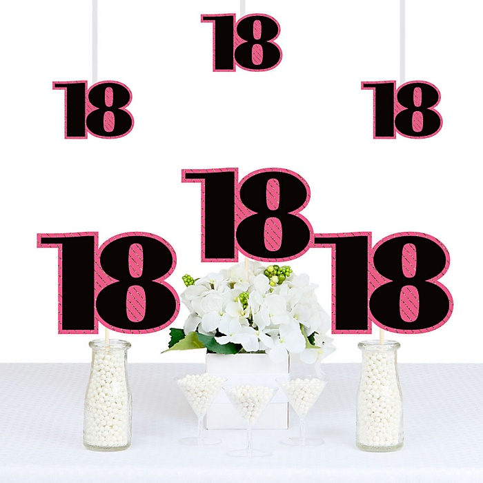Chic 18th Birthday - Pink, Black and Gold - Decorations DIY Party Essentials - Set of 20
