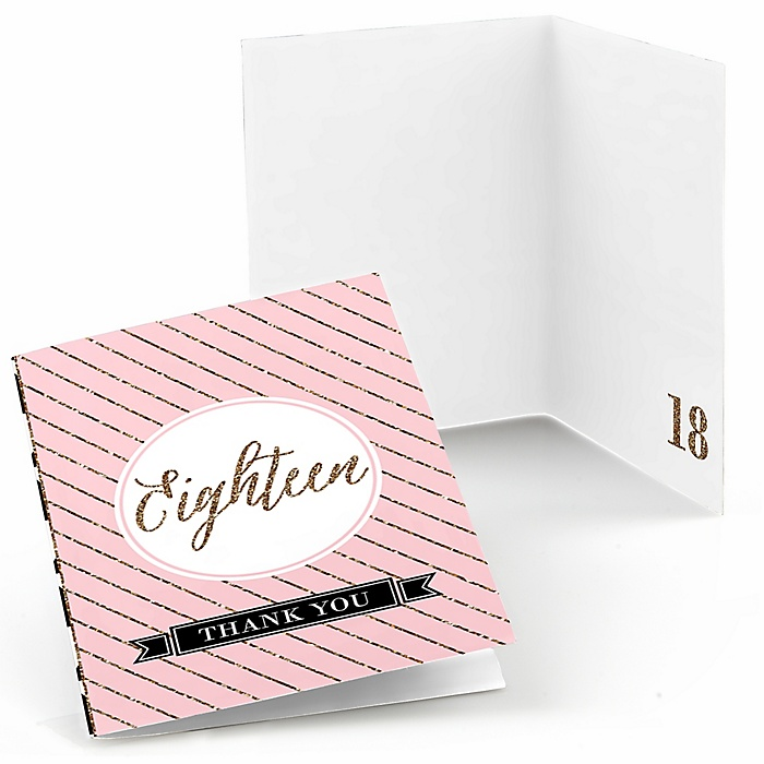 Chic 18th Birthday - Pink, Black and Gold - Birthday Party Thank You Cards - 8 ct