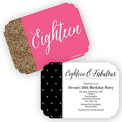 Chic 18th birthday pink black and gold shaped birthday party chic 18th birthday pink black and gold shaped birthday party invitations set of 12 bigdotofhappiness filmwisefo