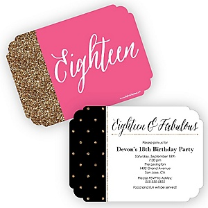 Chic 18th Birthday - Pink, Black and Gold - Birthday Party Invitations - Set of 12