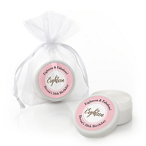 Chic 18th Birthday - Pink, Black and Gold - Personalized Birthday Party Lip Balm Favors - Set of 12